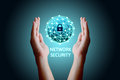 Cyber security network concept, Young asian man holding global n Royalty Free Stock Photo