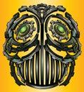Cyber techno idustrial digital robot face design Royalty Free Stock Photo