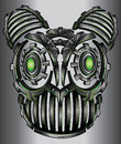 Cyber techno neon fantasy digital robot cat face design Royalty Free Stock Photo