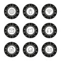 Cyber technology icons set Royalty Free Stock Photo