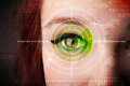 Cyber woman with modern military target eye concept Royalty Free Stock Photo