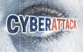 Cyberattack eye with matrix looks at viewer concept