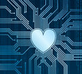 Cyberheart abstract technology background with heart in place of processor Stock Photography