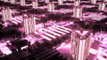 Cybernetic futuristic neon City. 3d buildings, skyscrapers in technology style.