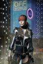 Cyberpunk adventurer freelance girl Royalty Free Stock Photo