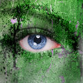 Cyborg face green futuristic background Stock Photo