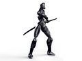 Cyborg ninja / Robot warrior get a sword out Clean background Royalty Free Stock Photo