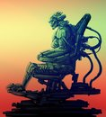 Cyborg pilot sits in suit on his iron throne. Science fiction illustration.