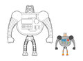 Cyborg Warrior coloring book. Man machine from outer space. Mech Royalty Free Stock Photo