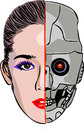 Cyborg what is hidden under the guise beautiful Stock Photo