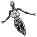 Cyborg woman d rendered scifi on white background isolated Royalty Free Stock Images