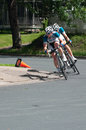 Cycists turn corner at stillwater criterium pro cyclists final stage of north star grand prix in Stock Image