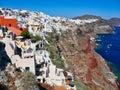 Cycladic Style Buildings Along the Santorini caldera, Greece Royalty Free Stock Photo