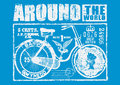 Cycle around the world vector illustration ideal for printing on apparel clothes Stock Images