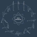 Cycle exercise in yoga sun salutation silhouette outline asanas vector illustration Stock Photography