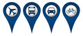 Cycle plane bus car location icons with symbols Royalty Free Stock Photo