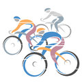 Cycle race colorful cycling with three bike riders vector illustration Royalty Free Stock Photography