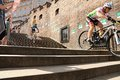 Cycle race cycling prague stairs city race bikes Royalty Free Stock Images