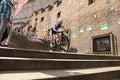Cycle race cycling prague stairs city race bikes prague steps bike Royalty Free Stock Photo