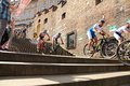Cycle race cycling prague stairs city race bikes prague steps bike Royalty Free Stock Images