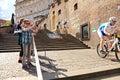 Cycle race cycling prague stairs city race bikes prague steps bike Royalty Free Stock Image