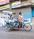 Cycle rickshaw transports passenger in delhi india oct early morning on october rickshaws were introduced Royalty Free Stock Photo