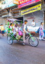 Cycle rickshaw transports passenger in delhi india oct early morning on october rickshaws were introduced Stock Image