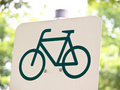 Cycle route sign outdoor bike lane Royalty Free Stock Image