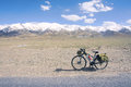 Cycle touring in yuzhu mountain in qinghai china Royalty Free Stock Photography