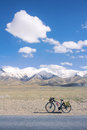 Cycle touring in yuzhu mountain in qinghai china Royalty Free Stock Photo