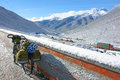 Cycle touring in zheduo mountain in sichuan china Stock Image