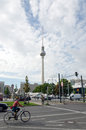 Cycling in berlin september young woman bicyclist alexander square the background tv tower on september Stock Images