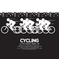 Cycling black and white vector illustration Stock Images
