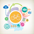 Cycling and cloud on abstract colorful watercolor background with different icon elements Royalty Free Stock Photos