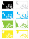Cycling in different seasons or conditions a set of graphics depicting weather Royalty Free Stock Photo