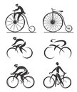 Cycling differently styled icons of contemporary and historical bicycles and cyclists vector illustration Royalty Free Stock Photography