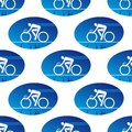 Cycling icon in a blue oval surround seamless background pattern with sports square format Royalty Free Stock Photography