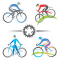 Cycling icons colorful and mountain biking vector illustrations Royalty Free Stock Images