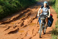 Cycling through jungle Royalty Free Stock Photo
