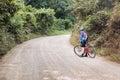 Cycling through the mountains in Honduras. Royalty Free Stock Photo