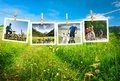 Cycling outdoors group is collage Stock Images