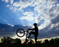 Cycling silhouette and biker Stock Photo