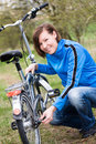 Cycling woman portrait of a with the bicycle Royalty Free Stock Photo