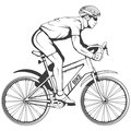 Cyclist on a bicycle. Sports bike. Bicycle helmet. Man riding a bike. Royalty Free Stock Photo