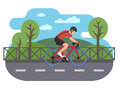 Cyclist on bike path Royalty Free Stock Photo