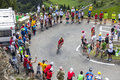 The cyclist christophe le mevel col de pailheres france july french from cofidis team climbing road to col de pailheres in Royalty Free Stock Images