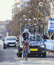The cyclist clement stef paris nice prologue in houilles france march rd dutch from blanco pro cycling team riding during of Royalty Free Stock Image
