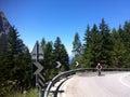 Cyclist climbing Alpe di Siusi Royalty Free Stock Photo