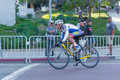 Cyclist competing los angeles ca usa august during wolf hustle civic center criterium Royalty Free Stock Image