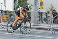 Cyclist competing los angeles ca usa august during wolf hustle civic center criterium Stock Image